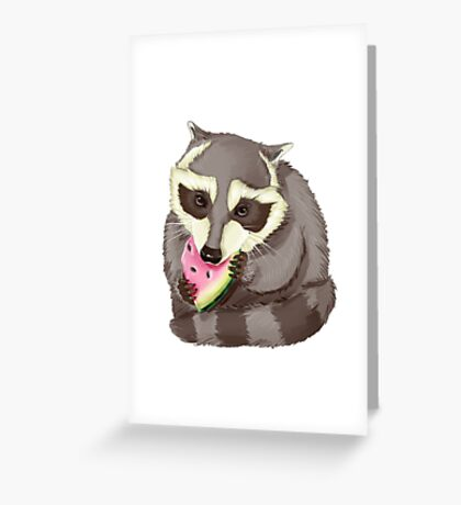 Raccoon with a watermelon Greeting Card
