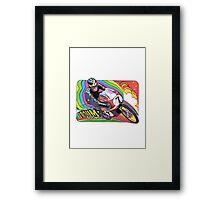 Vintage Motorcycle Motor Vroom decal 70's wild Framed Print