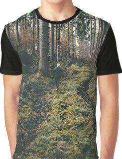 Boy walking through mystic forest landscape photography Graphic T-Shirt