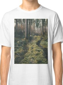 Boy walking through mystic forest landscape photography Classic T-Shirt