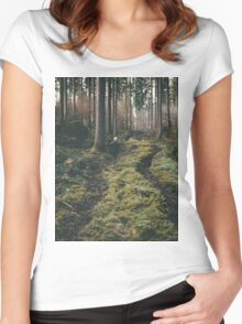 Boy walking through mystic forest landscape photography Women's Fitted Scoop T-Shirt