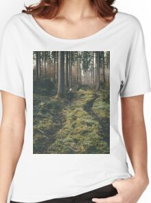 Boy walking through mystic forest landscape photography Women's Relaxed Fit T-Shirt