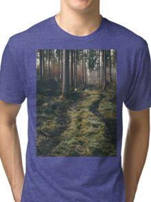 Boy walking through mystic forest landscape photography Tri-blend T-Shirt