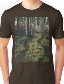 Boy walking through mystic forest landscape photography Unisex T-Shirt