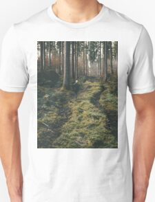 Boy walking through mystic forest landscape photography Unisex T-Shirt