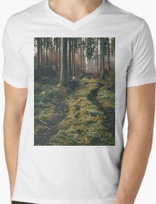Boy walking through mystic forest landscape photography Mens V-Neck T-Shirt