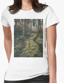 Boy walking through mystic forest landscape photography Womens Fitted T-Shirt