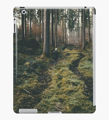 Boy walking through mystic forest landscape photography iPad Case/Skin