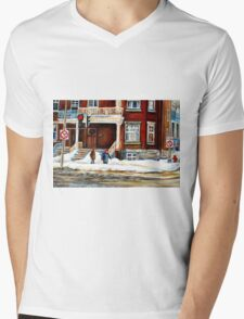 MONTREAL WINTER WALK AFTER THE SNOWSTORM Mens V-Neck T-Shirt