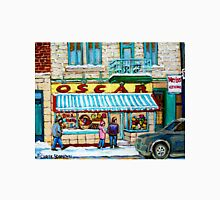 THE CANDY STORE MONTREAL WINTER CITY SCENE CANADIAAN ART Unisex T-Shirt