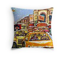 RIALTO THEATRE MONTREAL HOCKEY ART WINTER CITY SCENE PAINTING Throw Pillow
