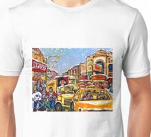 RIALTO THEATRE MONTREAL HOCKEY ART WINTER CITY SCENE PAINTING Unisex T-Shirt