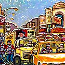 RIALTO THEATRE MONTREAL HOCKEY ART WINTER CITY SCENE PAINTING by Carole  Spandau