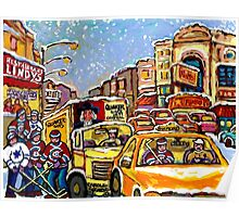 RIALTO THEATRE MONTREAL HOCKEY ART WINTER CITY SCENE PAINTING Poster