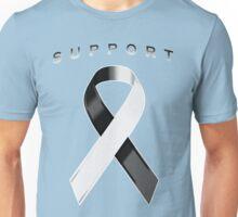 Black & White Awareness Ribbon of Support Unisex T-Shirt