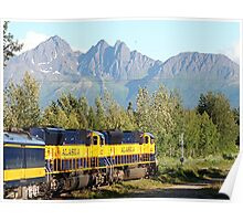 Alaska Railroad train and mountains Poster