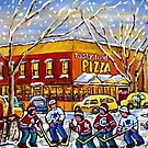 WINTER CITY SCENE TASTY FOOD PIZZA MONTREAL SNOWY PAINTING by Carole  Spandau