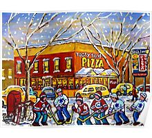 WINTER CITY SCENE TASTY FOOD PIZZA MONTREAL SNOWY PAINTING Poster