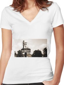WW2 German Bathroom Sign Women's Fitted V-Neck T-Shirt