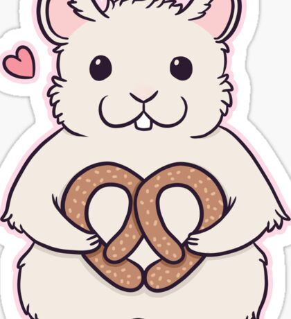 I love you more than this hamster loves pretzels Sticker