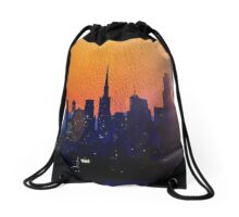 City Silhouetted in Orange and Blues Drawstring Bag