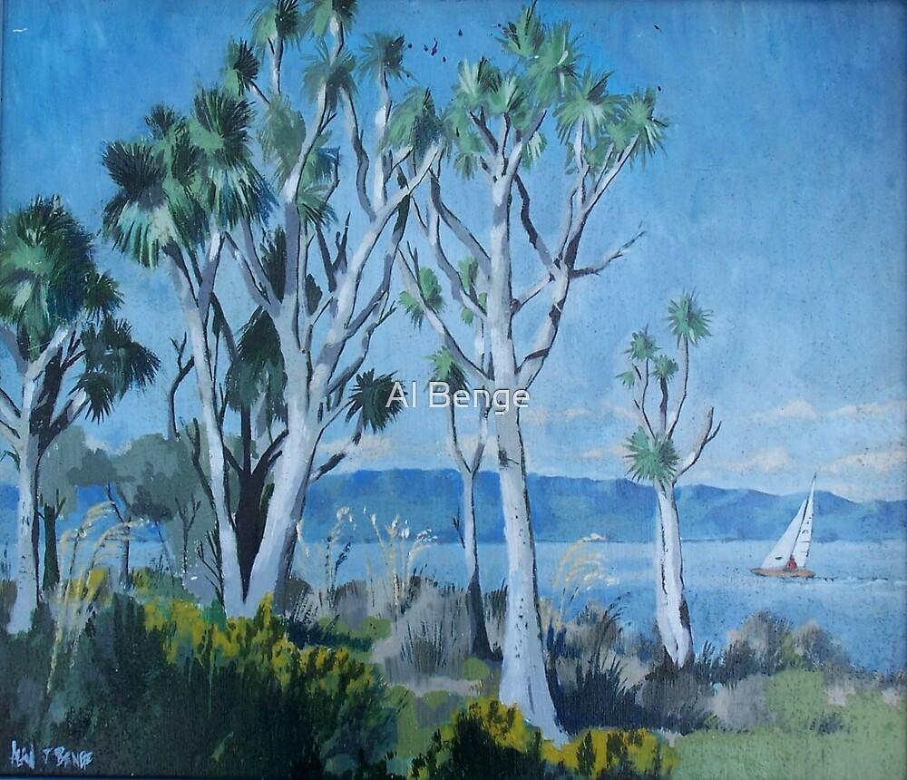 Cabbage trees, Lake Wairarapa, North Island, New Zealand by Al Benge
