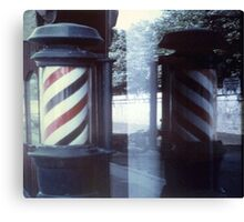 Barbershop Pole Reflection Canvas Print