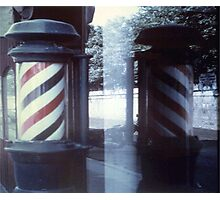 Barbershop Pole Reflection Photographic Print