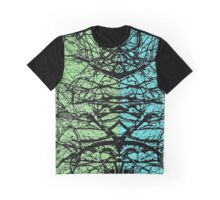 Abstract tree branches over blue and green background Graphic T-Shirt
