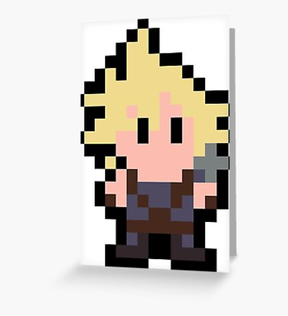 Pixel Cloud Strife Greeting Card