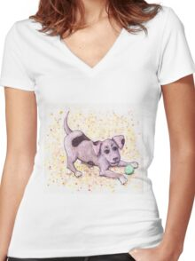 Playful Puppy with Tennis Ball Women's Fitted V-Neck T-Shirt