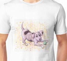 Playful Puppy with Tennis Ball Unisex T-Shirt