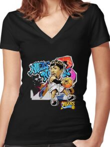 Allen Iverson Graffity Women's Fitted V-Neck T-Shirt