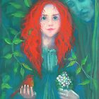 Child of the forest, red haired girl, green shades, fantasy art by clipsocallipso