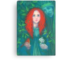 Child of the forest, pastel painting, fantasy art, green shades Canvas Print