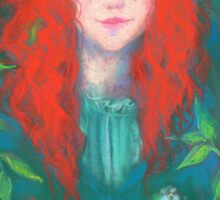Child of the forest, pastel painting, fantasy art, green shades Sticker