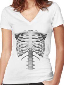 Anatomy white bones skeleton Women's Fitted V-Neck T-Shirt