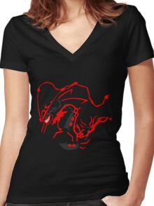 Shiny Mega Rayquaza Women's Fitted V-Neck T-Shirt