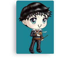Cute H. Potter With A Golden Snitch in a Gryffindor Uniform (Hand-Drawn Illustration) Canvas Print