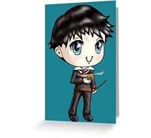 Cute H. Potter With A Golden Snitch in a Gryffindor Uniform (Hand-Drawn Illustration) Greeting Card
