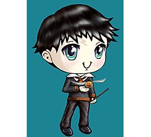 Cute H. Potter With A Golden Snitch in a Gryffindor Uniform (Hand-Drawn Illustration) Photographic Print