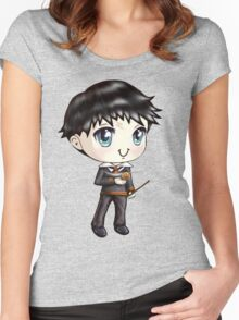 Cute H. Potter With A Golden Snitch in a Gryffindor Uniform (Hand-Drawn Illustration) Women's Fitted Scoop T-Shirt
