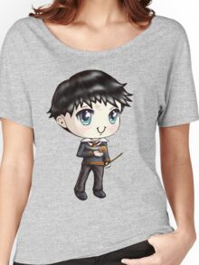 Cute H. Potter With A Golden Snitch in a Gryffindor Uniform (Hand-Drawn Illustration) Women's Relaxed Fit T-Shirt