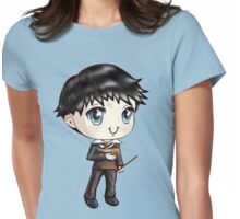 Cute H. Potter With A Golden Snitch in a Gryffindor Uniform (Hand-Drawn Illustration) Womens Fitted T-Shirt
