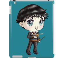 Cute H. Potter With A Golden Snitch in a Gryffindor Uniform (Hand-Drawn Illustration) iPad Case/Skin
