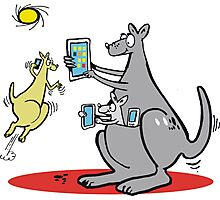 Cartoon kangaroo with computer and mobile phone Photographic Print