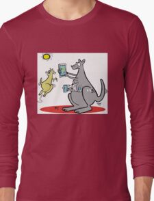 Cartoon kangaroo with computer and mobile phone Long Sleeve T-Shirt