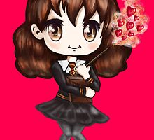 Cute Hermione Granger in Gryffindor Uniform Casting a Love Spell by TheBeanStudio