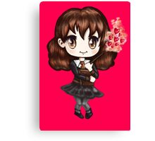 Cute Hermione Granger in Gryffindor Uniform Casting a Love Spell (Hand-Drawn Illustration) Canvas Print