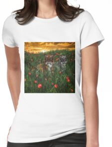 Tiger's In The Poppies  Womens Fitted T-Shirt
